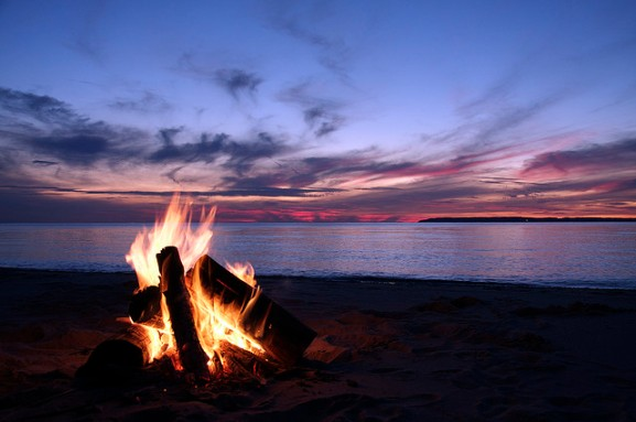 campfire on oregon coast beach